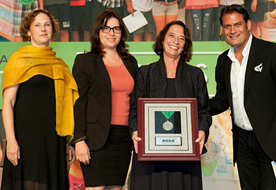 The Lawrence Receiving STEM Innovation Award from Silicon Valley Education Foundation