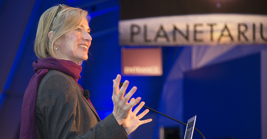 Jennifer Doudna speaking at an event at The Lawrence Hall of Science
