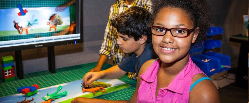 Two children at the Design Quest exhibit