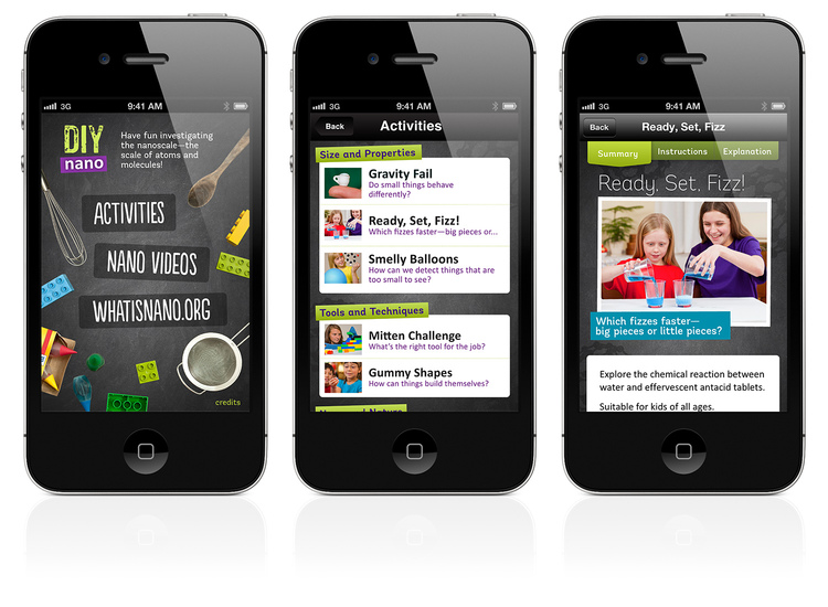 Three mobile phones with the DIY Nano app