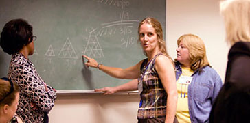 A group of teachers during a professional learning activity standing at a chalkboard