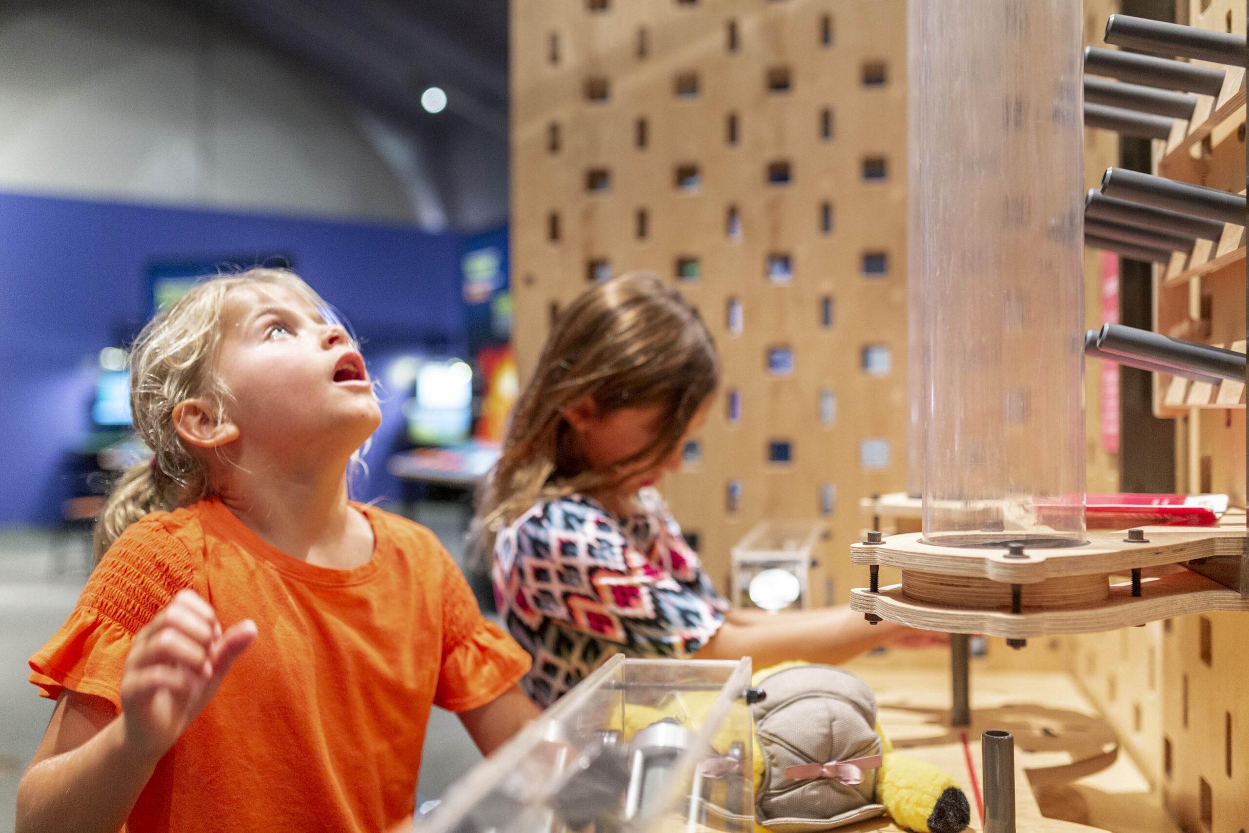 Two children exploring a science exhibit