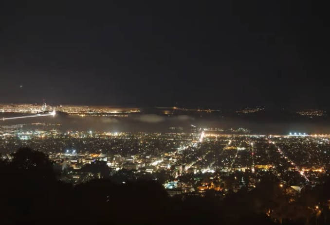 A view of the Bay Area from The Lawrence at night
